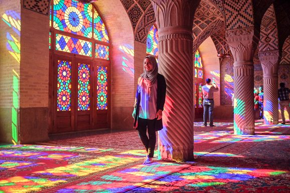 Visiting the Nasir ol Molk Mosque in Iran.