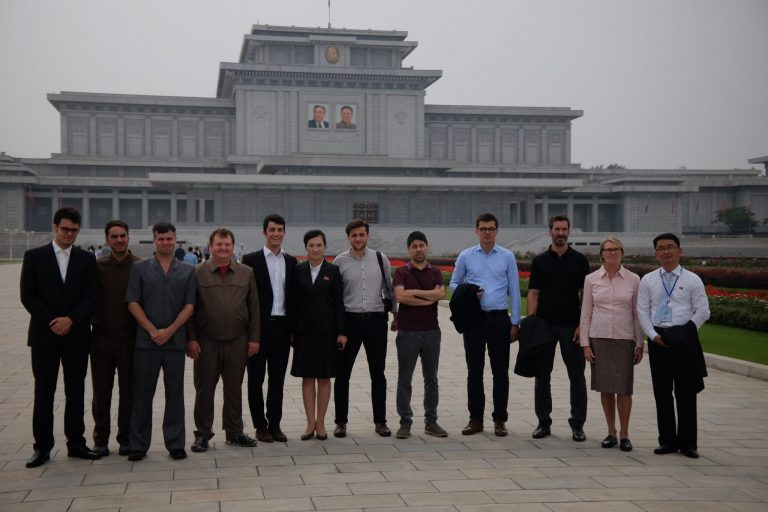 Tourists at the Kumsusan palace on a tour of North Korea