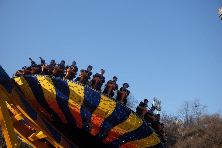 Locals enjoying a funfair in North Korea