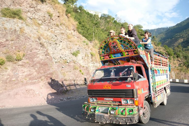 Pakistan painted truck ride with Rocky Road