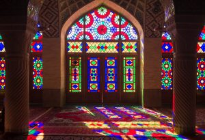 Amazing light entering the stained glass window of the Nasir Ol Molk Mosque, Iran