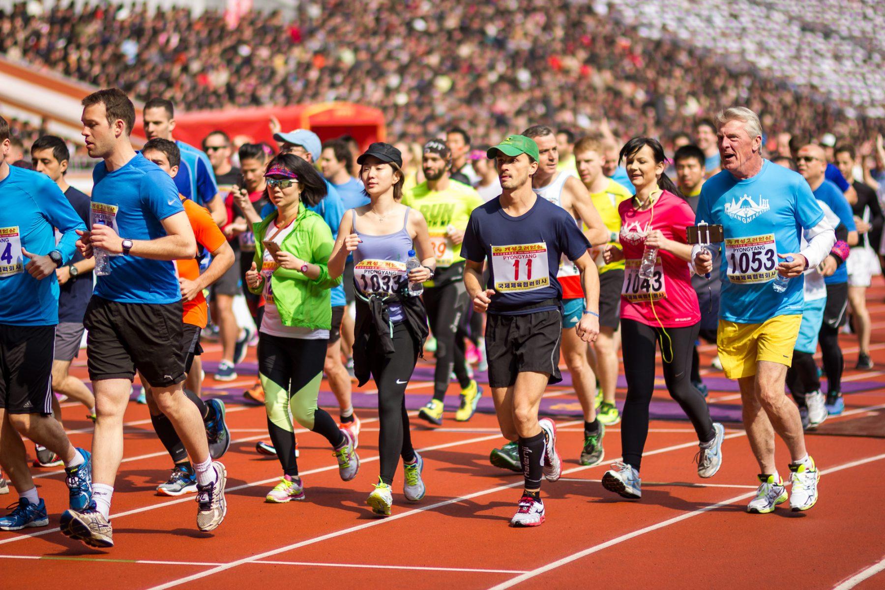starting line during the Pyongyang Marathon