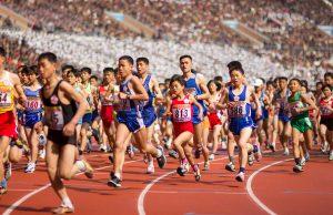Taking the first bend at the Pyongyang marathon tour, North Korea