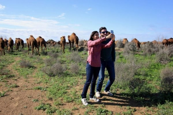 Tourists posing with camels on our Turkmenistan tours