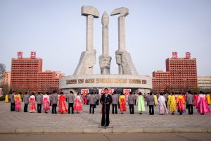 Mass dance during birthday celebrations on a tour of North Korea