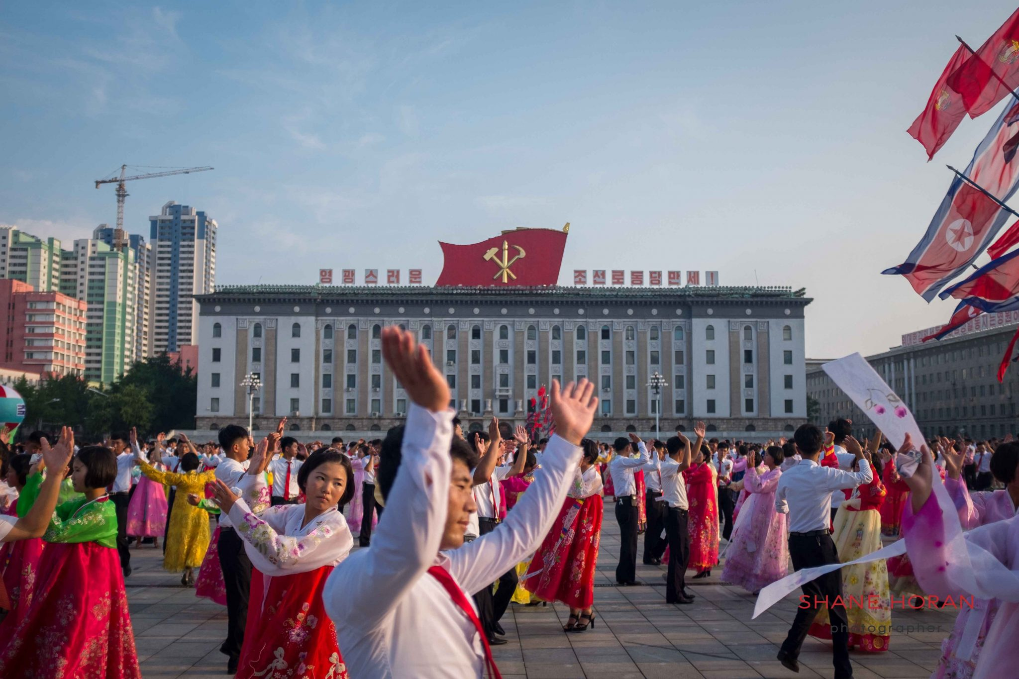 Mass dance during Victory celebrations in Pyongyang on a tour of North Korea