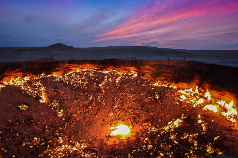 The amazing burning crater otherwise known as the Door to Hell. See it on all Turkmenistan tours