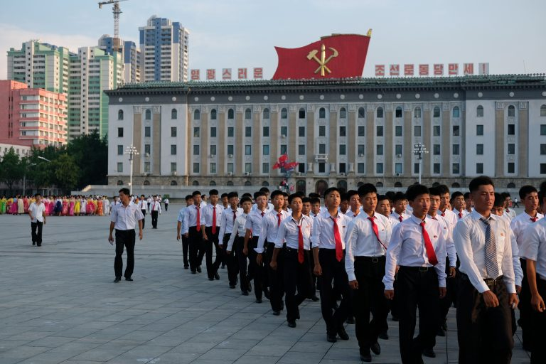 On the march in Pyongyang, North Korea.