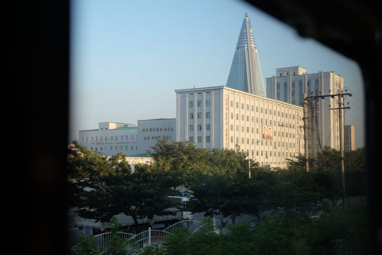 First sight of Pyongyang, North Korea.