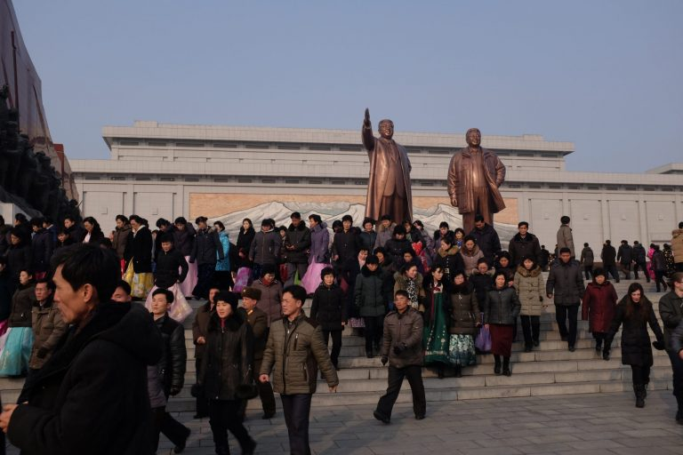 Grand monument in Pyongyang, North Korea.
