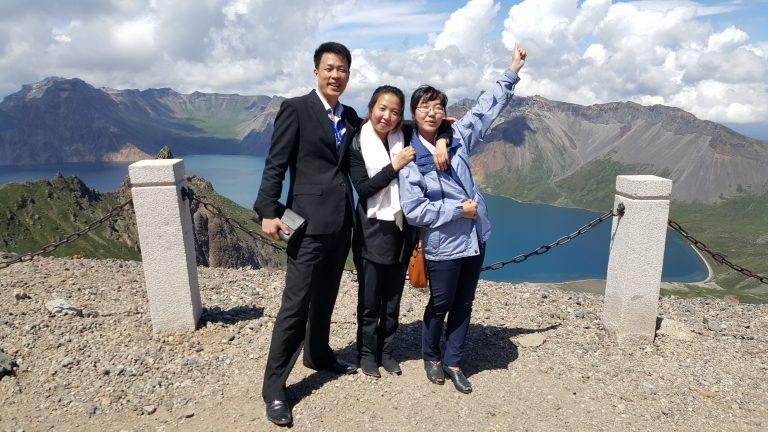 North korean guides on Mount Paektu