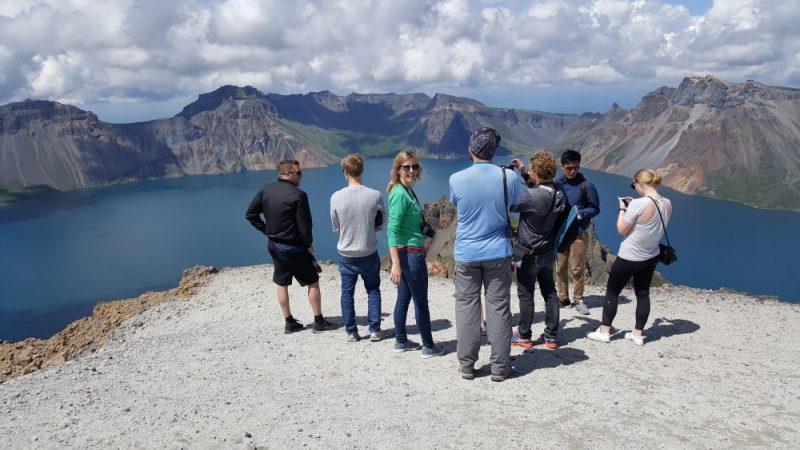 Tour group on Mount Paektu, North Korea