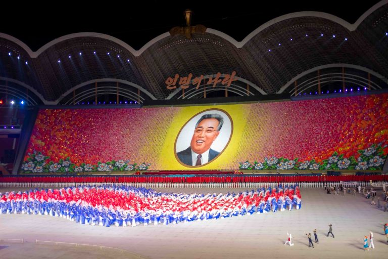 Kim Il Sung displayed by 20,000 North Koreans during the Mass Games