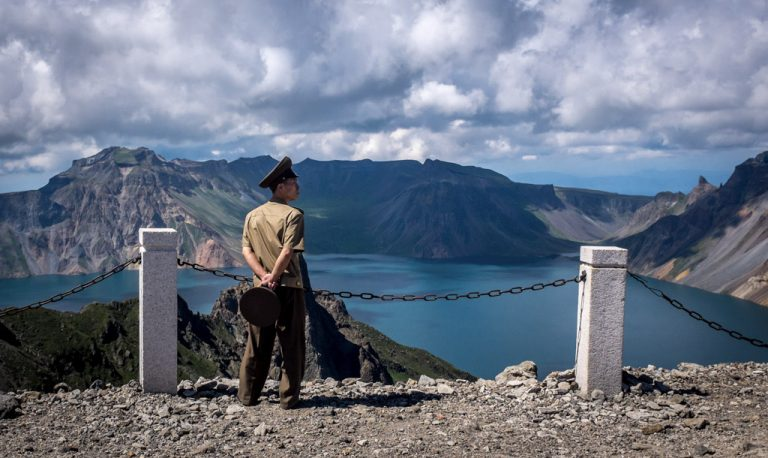 Army officer on Mount Paektu, North Korea