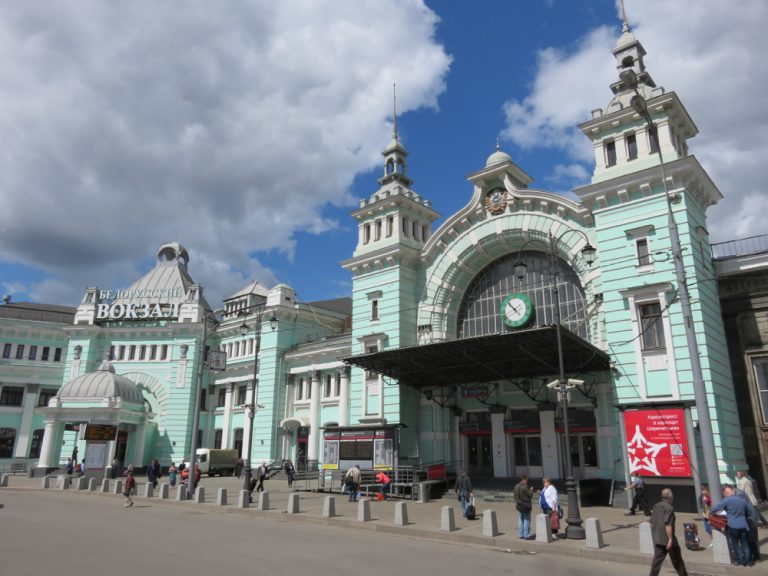 Moscow Belorusskaya station as we pass through on the Berlin to Pyongyang by train tour