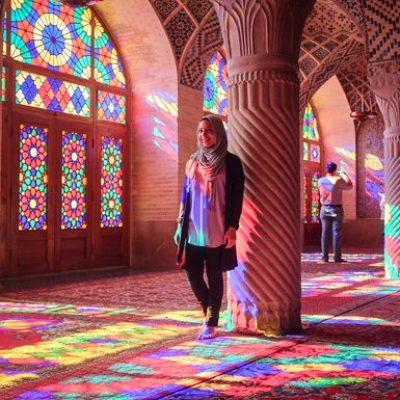 Visiting the Nasir ol Molk Mosque in Iran.